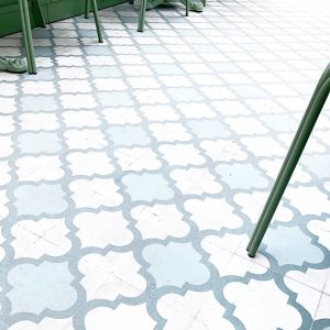 grout installation image of colorful tiles